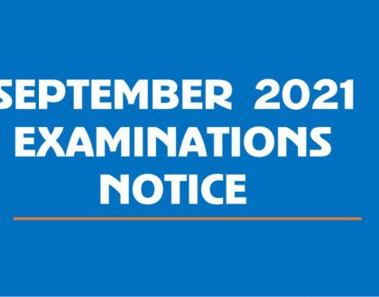 REMINDER – NORMAL REGISTRATION:  SEPTEMBER 2021 EXAMINATIONS